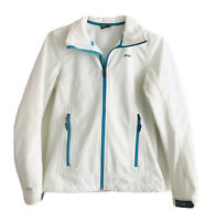 Koppen Outdoor White Teal Jacket Womens Size S Front Zip Drawstring Thermal