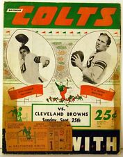 1949 Baltimore Colts vs Cleveland Browns Program Y. A. Tittle Otto Graham Ticket