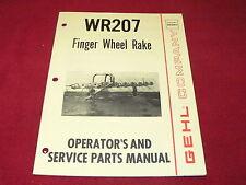 Gehl Wr207 Finger Wheel Rakes Dealers Parts Book Amp Operators Manual