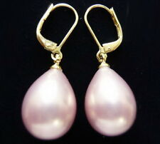 Excellent Pink South Sea Shell Pearl Drop 18KGP Hook Earrings