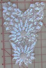 Absolutely beautiful vintage iridescent applique with pearl center flowers 8.5""