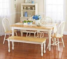 6 piece Farmhouse Dining Kitchen Set Table Bench 4 Windsor Chairs White Natural