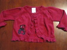 Gymboree Girl Dark Red Ruffle Plaid Teddy Bear Shrug Cardigan Sweater 3-6 mo EUC