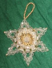 """Vintage 3D Clear Beaded Star Gold Accents 3"""" Christmas Ornament #HY10"""