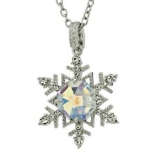 "Snowflake W Swarovski Crystal AB Winter Snow Pendant 32"" Chain Necklace"