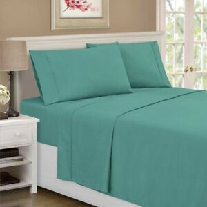 3-pc Twin Teal Blue Superior 1500 Series Rayon from Bamboo Microfiber Sheet Set