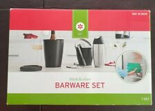 NEW Black & Silver 4 piece Barware Set Bottle Chiller w/Refreeze-Able Cool Pack