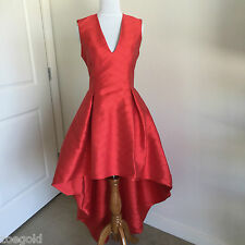 "ALEXIS ""LEENA"" RED HIGH/LOW CHEVRON PATTERN LINED V-NECK PROM GOWN DRESS M"