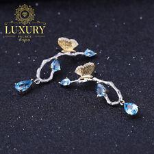 Natural 3.72Ct Swiss Blue Topaz 925 Silver Handmade Butterfly Drop Earrings