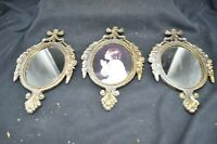 3 Vtg Metal,?Brass, Ornate Oval Picture Frames-2 w/Mirrors & Other Picture-Italy