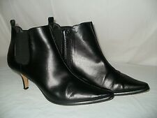 Donald J Pliner Size 8 1/2 Women Black Ankle Zipper Boots LEEO Pointy Toe Preown