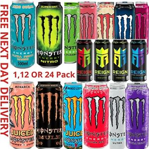 MONSTER ENERGY DRINK ALL FLAVOURS 500ml x 12 Or 24 PACK FREE NEXT DAY DELIVERY
