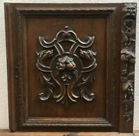Huge antique german Black Forest door early 1900's woodwork lion chimeras