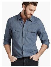 New Men's LUCKY BRAND Washed Indigo Blue Denim Jean Slim Fit Shirt, Large, L