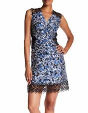 $448 ELIE TAHARI WREN Floral Print Embroidered Crochet Lace A Line Dress Size 2