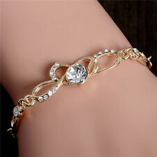 Fashion Gold Plated Love Heart Crystal Rhinestone Women Bracelet Bangle Chain