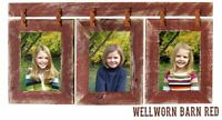 Wood Picture Frame 3 Set Collage Pale Red Photo Barn Wall Display Hanging Rustic