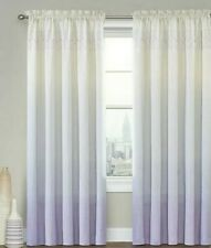 (2) Zone Ombre Striped Lilac & White Curtains Panels 51'W  X  83'L  New