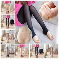 Women's Winter Fleece Lined Warm Stretch ThermalLeggings Pants Fake Transparent