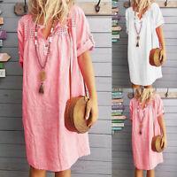 Womens Short Sleeve Solid T-shirt Blouse Summer Loose Casual V-Neck Mini Dress