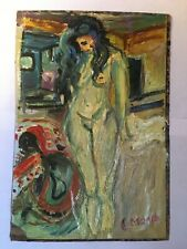 Old Original Edvard Munch Signed Oil Painting Modern Expressionist Nude