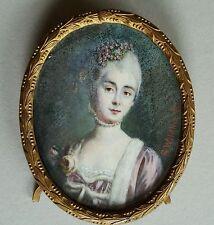 Miniatur Portrait einer Frau mit gepudertem Haar, sign. Wildhack, Anfang 19. Jh.