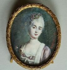 (B016) Miniatur Portrait Frau mit gepudertem Haar, sign. Wildhack, Anfang 19.Jh