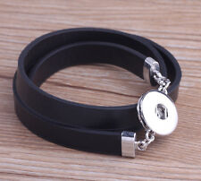 new handmade DIY nosa lether bracelet fit 18mm chunk snap button j4864