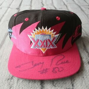 Super Bowl Shark Tooth Snapback Hat Signed Jerry Rice San Francisco 49ers Vtg