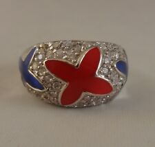 P Ring   [ 925 Sterling Silver & Clear Cubic Zircon ] Red and  Blue