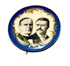 """1900 WILLIAM MCKINLEY TEDDY THEODORE ROOSEVELT 7/8"""" pin pinback button filigree"""