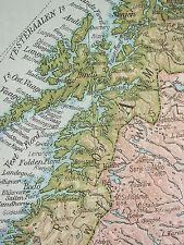 1919 LARGE MAP ~ NORWAY & SWEDEN INSET SPITSBERGEN STOCKHOLM POPULATION