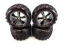 NEW TRAXXAS 1/10 E-REVO BLACK CHROME GEMINI 14mm WHEELS & TALON TIRES T-MAXX