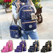 3PCS Fashion Women Girls Backpack Rucksack School College Travel Canvas Bag