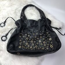 Isabella Fiore Large Black Leather Bucket Shoulder Tote Bag Gold Studded