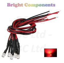 10 x Pre-Wired Red LED 3mm Flat Top : 9V ~ 12V : 1st CLASS POST