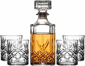 Royalty Art Kinsley Whiskey Glasses Set with Decanter for Scotch, Bourbon,...