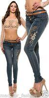 SEXY POUR FEMMES SLIP TAILLE BASSE Jeans moulant avec broderie fleur + belt.uk