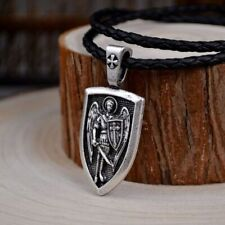 Men Necklace Archangel St.Michael Protect Me Saint Shield Protection Charm