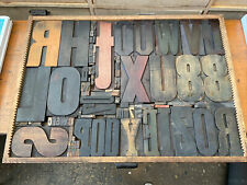 Antique Giant American Letterpress Wood Type & Type Case 23 X 32 Inches