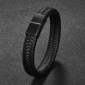 New Men Jewelry Braided Leather Bracelet Stainless steel Magnetic Clasp Fashion