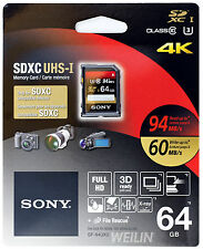 SONY SDXC UHS-I U3 64GB SD Memory Card Class 10 94MB/s 4K ULTRA HD Video 3D 64G