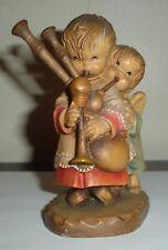 "Anri Juan Ferrandiz ""The Helper"" Wood Carved Figurine -Angel Helps Play Bagpipes"