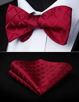 Men Woven Red Check&Plaid Self Bow Tie Pocket Square Butterfly Silk Set#BC423US