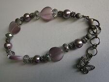Antiqued Glass Heart Beaded Bracelet - Lilac/Purple/Silver
