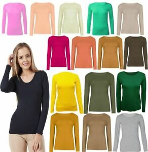 Women's Basic Long Sleeve Plain Round Neck Ladies Stretch Plus Size Top T Shirt