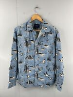 American Eagle Men's Long Sleeve Button Up Western Duck Shirt Size M Blue