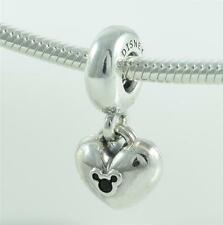 Authentic Genuine Pandora Silver Disney Minnie & Mickey Heart Charm 791441NCK