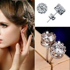Unisex Retro Elegant Silver Crystal Crown Ear Stud Earrings Jewelry Gift Hot