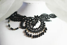 Black Lace Choker Cosplay Victorian Vintage Pearl Chain Punk Necklace Collar